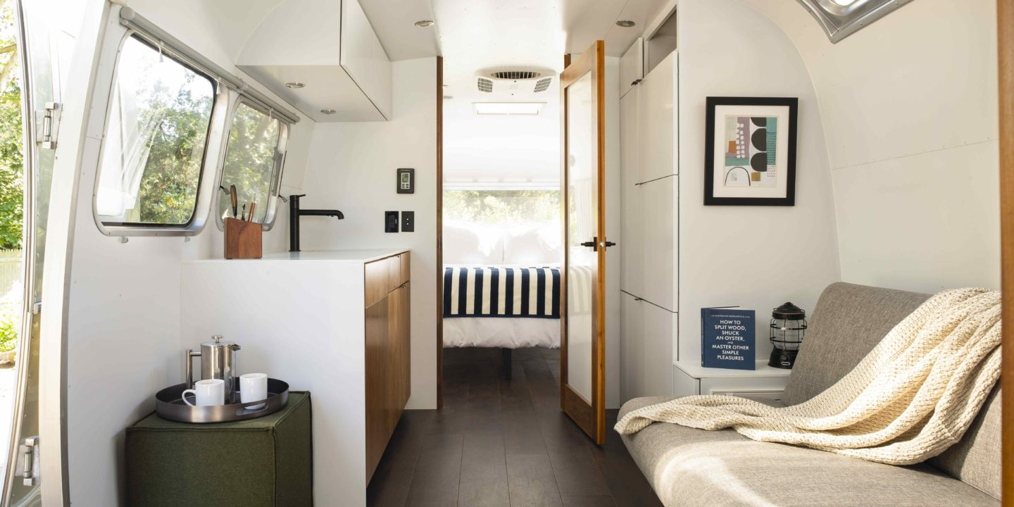 Cape Cod Airstream Bedroom and Galley