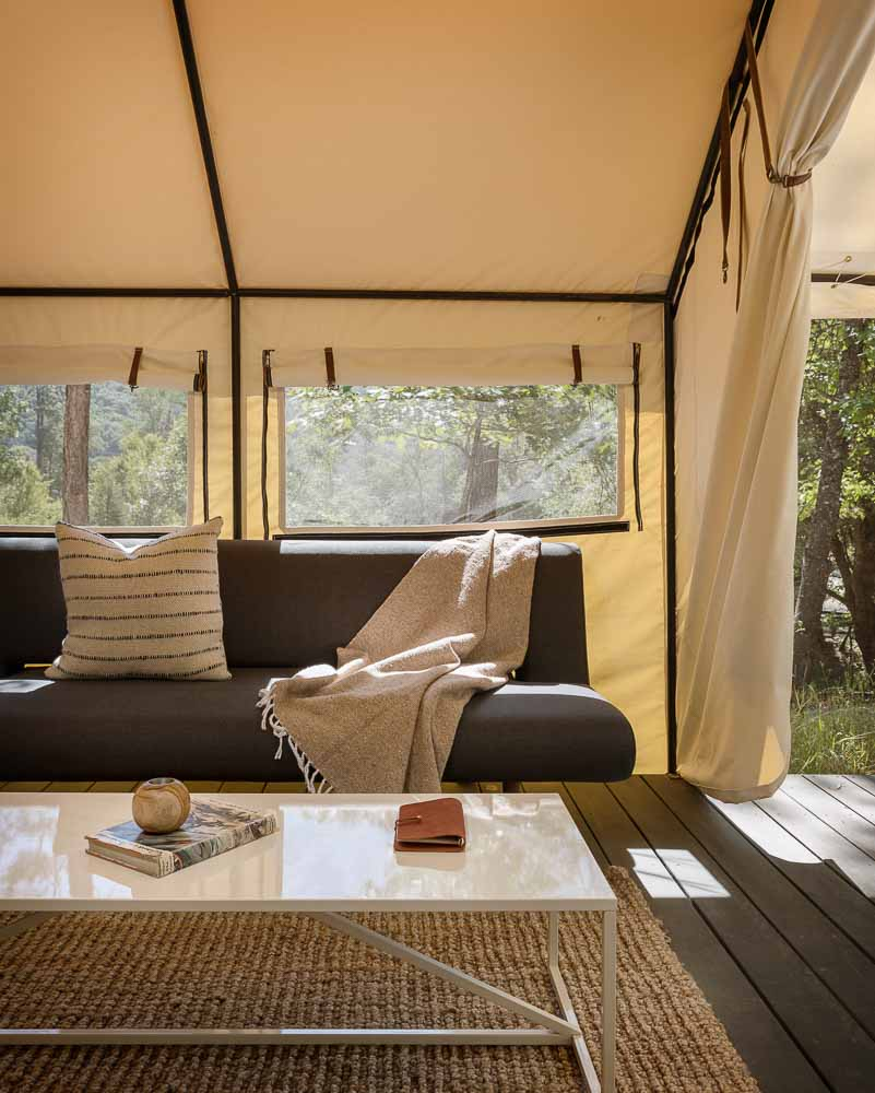 Fold Out Futon in Luxury Tents