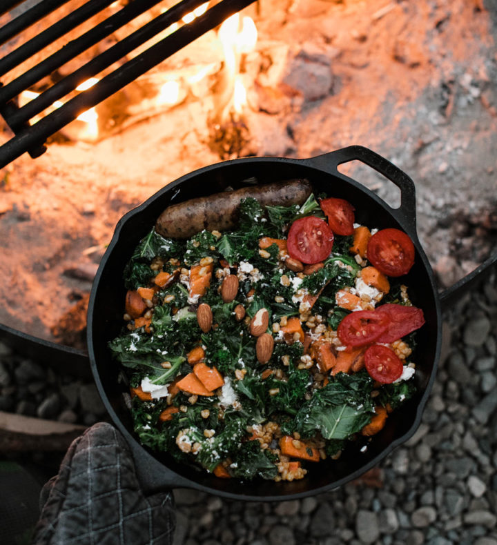 Cast-iron-skillet-on-fire
