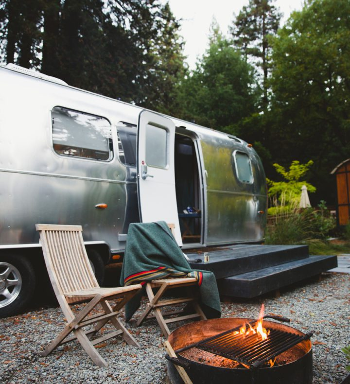 AutoCamp Airstream and fire pit