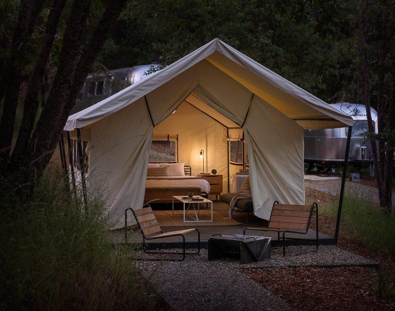 AutoCamp Yosemite Luxury Tent at Dusk